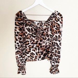 NWT TOPSHOP leopard cinched tie ruffle blouse 2